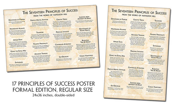 Both Sides of 17 Principles of Success Poster Formal Edition Regular Size