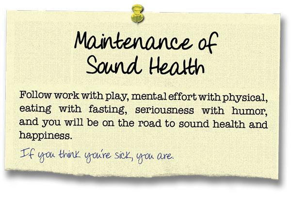Success Principle 15 Maintenance of Sound Health
